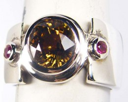 CITRINE AND RUBY  STYLISH  SILVER RING  SIZE  8 GRR 170