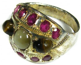 TRIBAL MULTI GEMSTONE  TIBETAN SILVER RING SIZE  8  TR583