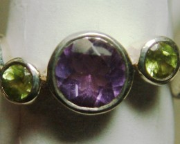 AMETHYST/PERIDOT SILVER RING 13 CTS SIZE-7  ADK-52
