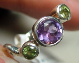 AMETHYST SILVER RING   12 CTS SIZE-6  ADK-57