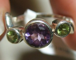 AMETHYST/PERIDOT SILVER RING  13  CTS SIZE-6 ADK-56