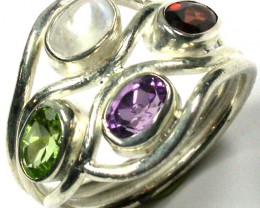 MULTI CLUSTER GEMSTONE MULTI SILVER RING SIZE  6 GTJA161