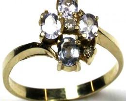 NATURAL TANZANITE & DIAMONDS 14KT GOLD RING SIZE 6.5 GTJA310