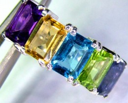 CLUSTER MIX GEMS -SILVER RING 26.40  CTS SIZE6 SJ584