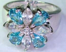BLUE AND WHITE TOPAZ -SILVER SIZE 6.6 [SJ588]SH
