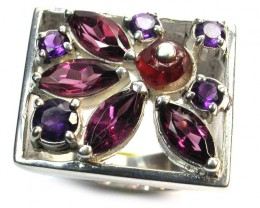 ASSORTED GEM STONE 7 1/2 RING SIZE 64.40 CTS [SJ1329]