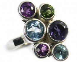 ASSORTED GEM STONE 6 RING SIZE 20.55 CTS [SJ1330]