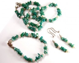 ADVENTURINE PEARL NECKLACE BRACELET EARRING SET   GTT 715