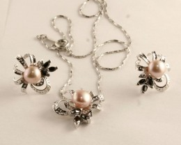Sterling Silver Necklace  Pendant  & Earring Set ( SNP-02