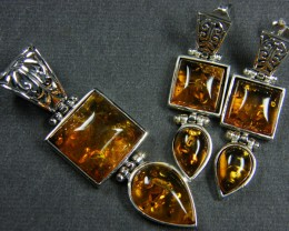 BALTIC AMBER SILVER PENDANT AND EARRING TCW  66.5 MYG301