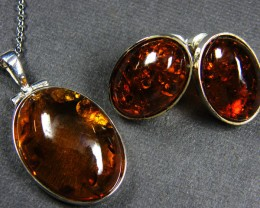 BALTIC AMBER SILVER PENDANT AND EARRING TCW  48.6 MYG304