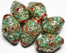 200.00 CTS NEPAL BEAD PARCEL-CORAL TURQUOISE  [SJ2657]3