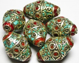200.00 CTS NEPAL BEAD PARCEL-CORAL TURQUOISE  [SJ2659]