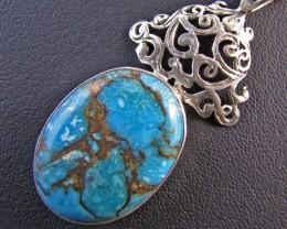 54 CtsTibetan Turquoise  Pendant MJA 673