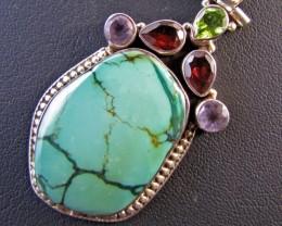 85 Cts Gemstones n  Turquoise  Pendant MJA 675