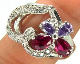 RUBY  SILVER RING 32  CTS  SIZE- 7.5   RJ-71