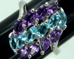 AMETHYST BLUE TOPAZ SILVER RING 21 CTS SIZE-7.25 RJ-202