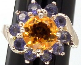 CITRINE  SILVER RING  23.75 CTS  SIZE- 5.25   RJ-221