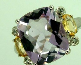 AMETHYST  SILVER RING   14.6 CTS  SIZE-7.5    RJ-632