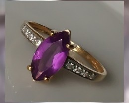 CERTIFIED Amethyst Diamond & Gold Ring ~ Exquisite