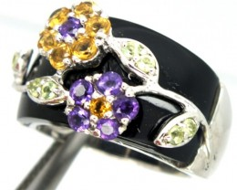 AMETHYST CITRINE  SILVER RING 36.2 CTS SIZE-6.5   RJ-235