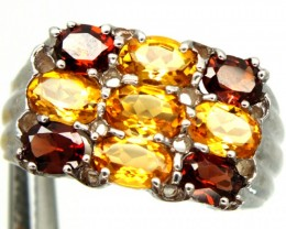 GARNET CITRINE  SILVER RING 32.20  CTS SIZE- 10  RJ-245