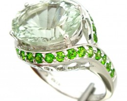DIOPSIDE QUARTZ  SILVER RING 40.25 CTS  SIZE- 9.50    RJ-287