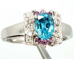 ZIRCON SILVER RING  18.15 CTS  SIZE- 7.75   RJ-314