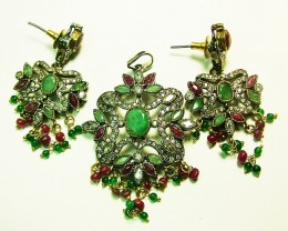 VINTAGE DESIGN RUBY-EMERALD ZIRCON SET 60CTS SG-286