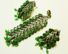 VINTAGE DESIGN EMERALD ZIRCON SET 64CTS SG-285