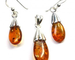 BALTIC AMBER EARRINGS AND PENDANT SILVER 27.40 CTS [SJ1424]