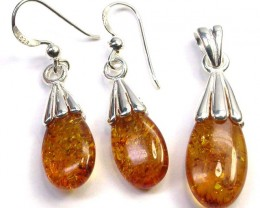 BALTIC AMBER EARRINGS AND PENDANT SILVER 26.85 CTS [SJ1426]