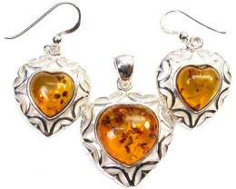 BALTIC AMBER EARRINGS AND PENDANT SILVER 43.15 CTS [SJ1428]