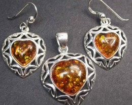 BALTIC AMBER EARRINGS AND PENDANT SILVER 41.70 CTS [SJ1429]
