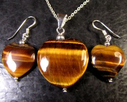 AUSSIE TIGER EYE  SET IN SILVER PENDANT/EARRING  RT 81
