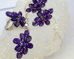 4PC SET  AMETHYST STYLISH SILVER  PENDANT RING EARRING RT993
