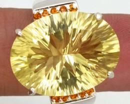 LEMON QUARTZ  SILVER RING   52.45 CTS SIZE-12 RJ-353