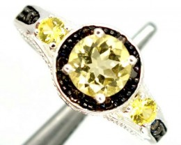 LEMON QUARTZ  SILVER RING  19.95 CTS  SIZE-8.25    RJ-359