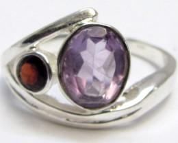 Amethyst  n Garnet  Silver Ring size 7.5   MJA 776