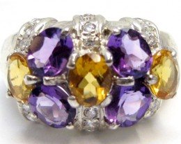 Amethyst n Citrine   Silver Ring size 7.5   MJA 777