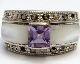 Amethyst  n Mother Pearl Silver Ring size 7  MJA 801