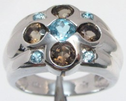 Topaz Blue n Smokey Quartz  set in silver ring  7.5 MJA 822