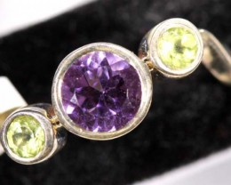 AMETHYST SILVER RING 12 CTS SIZE-6  TBJ-568