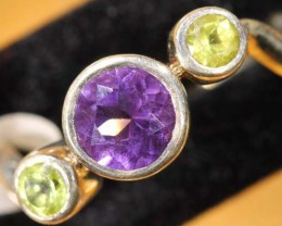 AMETHYST/PERIDOT SILVER RING 13 CTS SIZE-6  TBJ-572