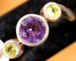 AMETHYST /PERIDOT SILVER RING 12 CTS SIZE-7  TBJ- 573