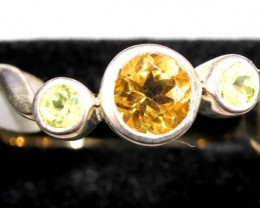 CITRINE AND PERIDOT SILVER RING TBJ-650