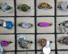 RESELLERS  DEAL TWELVE MIXED   GEMSTONE RINGS  AAT 736