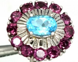 BLUE TOPAZ  SILVER RING  29.90 CTS  SIZE-6.25    RJ-269