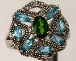 BLUE TOPAZ  WITH DIOPSIDE SILVER RING  31.50 CTS  SIZE- 6.25   RJ-390