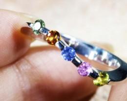 Beautiful mixed gemstone silver ring size   Bu1317